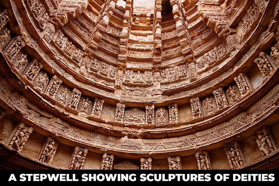 A Stepwell showing sculptures of deities