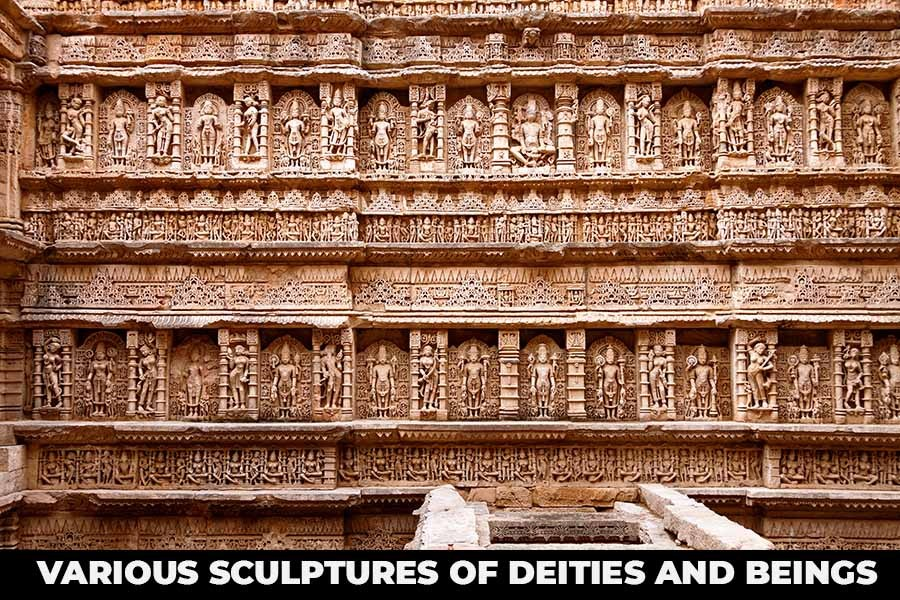 Various sculptures of deities and beings