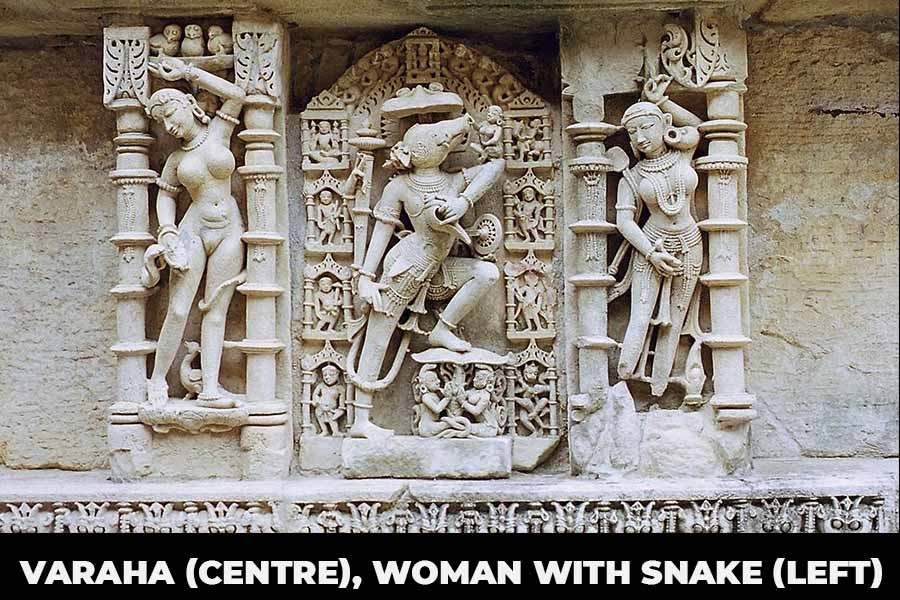 A Picture showing Varaha (centre), woman with snake (left)