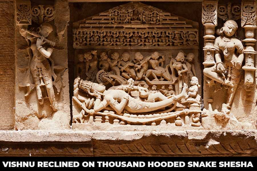 A picture showing Vishnu reclined on thousand hooded snake Shesha