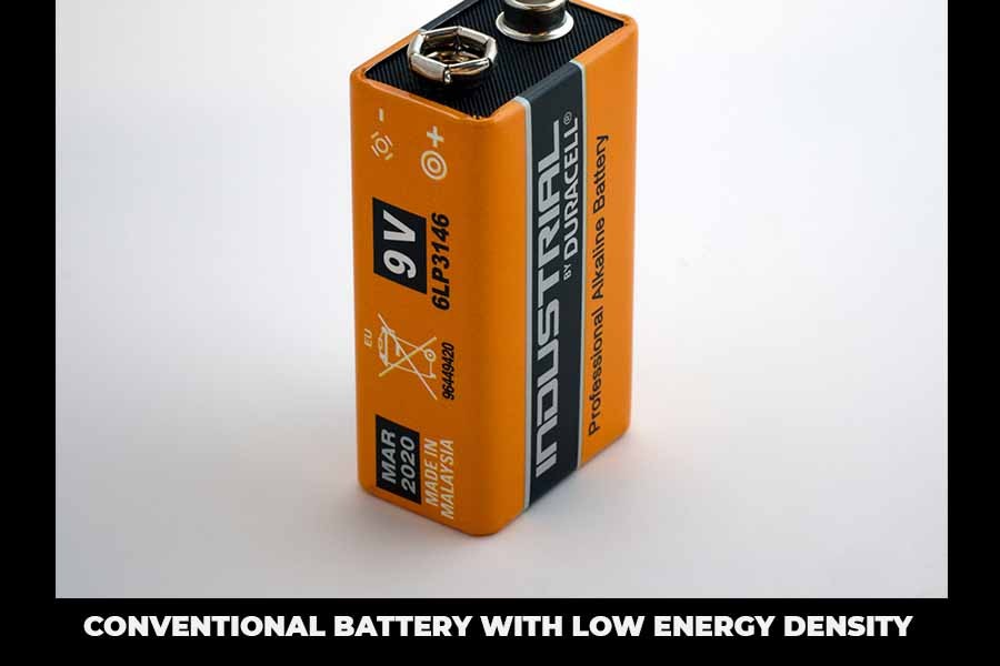 Conventional battery with low energy density
